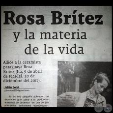 104812b550b ROSA BRÍTEZ Y LA MATERIA DE LA VIDA - Por JULIÁN SOREL - Domingo