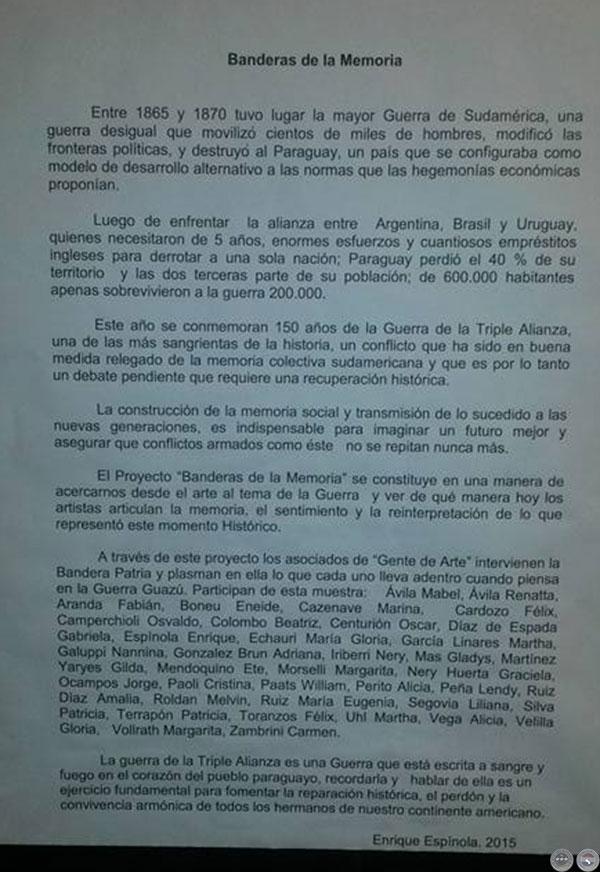 Portal guaran banderas de la memoria 2015 - Baneras de obra ...